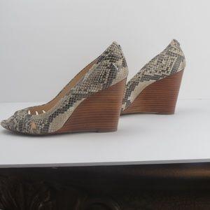 Calvin Klein Snake Skin Peep Toe Wedges